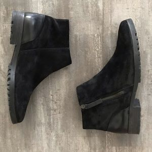 Paul Green Suede and Leather Zip Booties in Black